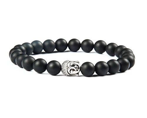 GOOD.designs Buddhismus Perlenarmband aus echten Natursteinen und edler Buddha-Kopf Perle, Chakra-Schmuck für Damen und Herren, Yoga-bracelet (Onyx)