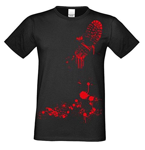 Herren-Halloween-Kostüm-Motiv-Fun-T-Shirt auch in Übergrößen 3XL 4XL 5XL Blutiger Schuhabdruck cooles Funny Shirt Party Outfit Kürbis Monster Gespenster Hexen Farbe: schwarz Gr: 4XL