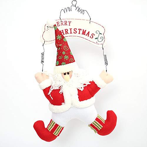 99native 40 x 27 cm Weihnachtsmann Tür hängenden Dekoration, Vlies Cute Santa Schneemann geeignet für Home Hotel Shop Dekoration (A) (Halloween Kränze Cute)