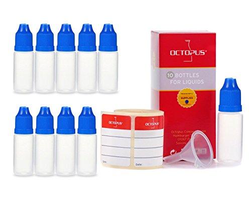 10 x 10 ml Octopus Tropfflaschen, zur Dosierung von Flüssigkeiten, E-Liquids, Augentropfen, leere LDPE Kunststoffflaschen transparent, Plastikflaschen mit blauem Tropfverschlüssen, mit Kindersicherung, inkl. 10 Beschriftungsetiketten