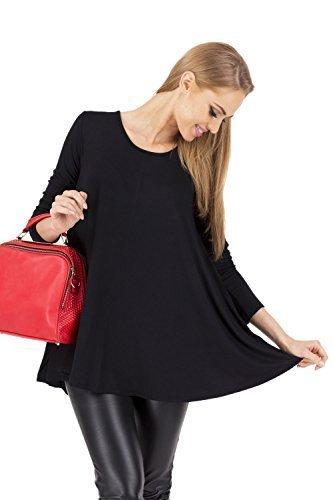 Futuro Fashion Sensible Femmes Haut Mini Robe Decolleté Tunique Manches Longues 8538 Noir