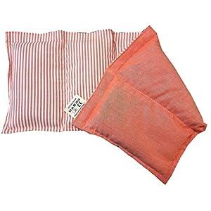 Körnerkissen Wärmekissen gestreift/orange 100% Baumwolle 50x20cm Dinkelkissen