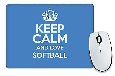 BLUE Keep Calm and Love Softball Mouse Mat COLOUR 1385