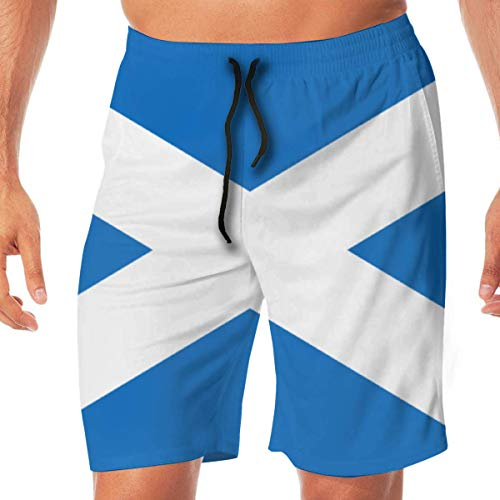 Generic Mens Workout Shorts Flag of Scotland Summer Vacation Beach Boardshort with Pocket,L -