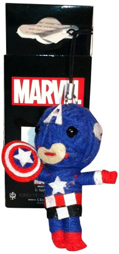 """Retro CAPTAIN AMERICA, Officially Licensed Marvel Comics, Collectible 2.5\"""" Handmade String DOLL Keychain"""