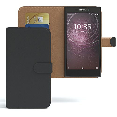 Sony Xperia L2 Hülle Bookstyle mit Standfunktion I von Eazy CASE I Book-Style Case aufklappbar, Schutzhülle, Flipcase, Flipstyle, Flipcover mit 2 Kartenfächern aus Kunstleder, Schwarz