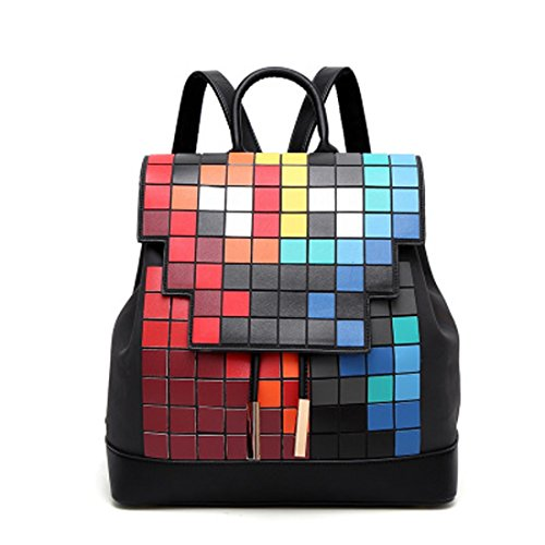 Women's Backpack Bag PU Geometric Luminous Zipper Mosaic Cube Bag design