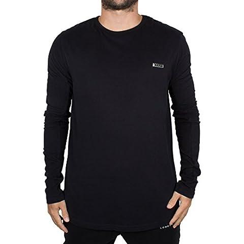 Foray Uomo Maniche lunghe Legacy logo in metallo T-shirt, Nero