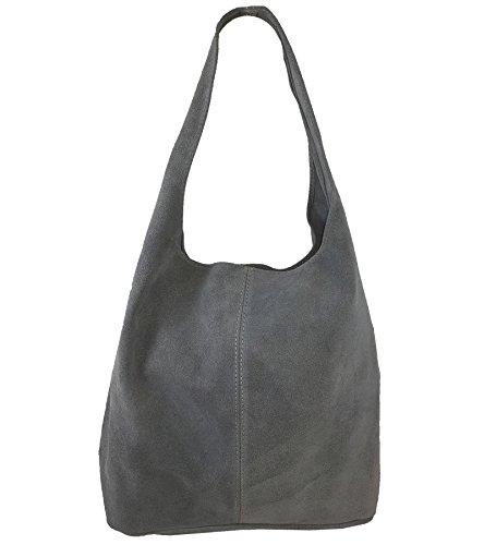 374e49e8ce7e5 Freyday Damen Ledertasche Shopper Wildleder Handtasche Schultertasche  Beuteltasche Metallic look (Dunkelgrau)