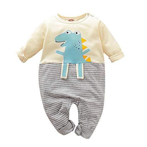 TTLOVE Neugeborenes Baby Junge Mädchen Kleidung Cartoon Dinosaurier Langarm Hoodie Strampler Kapuzenpullover Overall Outfits (Gelb,70 cm)