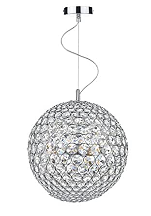 Dar Fiesta 8-Light Polished Chrome Finish 50cm Diameter Pendant Ceiling Light, FIE0850