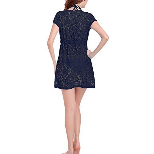 jiajia Frauen Sexy tiefer V-Ausschnitt Spitze Figurbetont Beach Kleid swinsuit Cover Up Schwarz