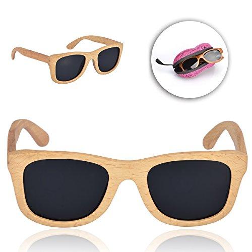 Sunroyal® occhiali da sole super lenti polarizzate originali in legno per sport uomo e donna occhiali sportivi occhiali per la guida telaio stile wayfarer bambù eyewear (sunglasses 05)