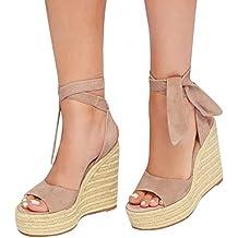 Minetom Sandali Donna Moda Espadrillas con Cinturino alla Caviglia Zeppe  Corda Intrecciato Piattaforma Eleganti Dolce Estivi c5334559aad