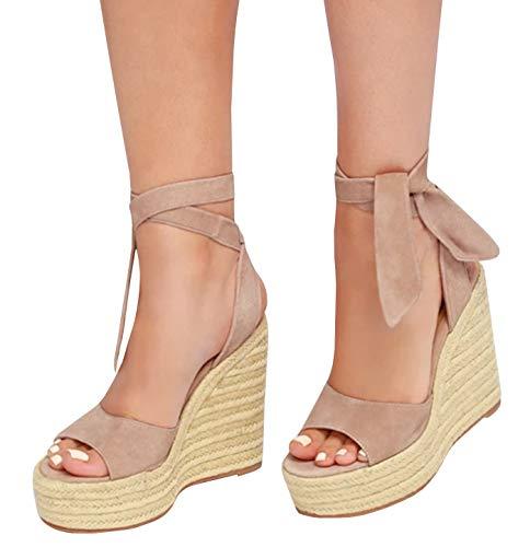 Minetom sandali donna moda espadrillas con cinturino alla caviglia zeppe corda intrecciato piattaforma eleganti dolce estivi allacciare peep toe scarpe sandals cachi eu 39