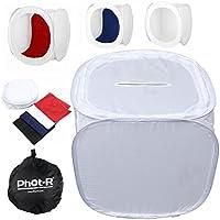 Phot-R 40x 40x 40cm cubo de luz para estudio fotográfico profesional carpa caja suave incluyendo 4fondos en colores negro, azul, rojo y blanco + Funda de transporte