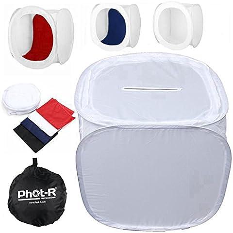 Phot-R® 40 x 40 x 40 cm Profesional Foto Studio Ligero Tent caja suave incluyendo 4 coloreadas Contextos (Negro, azul, rojo y blanco)