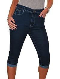 ICE (1545-1) Pantacourt en Jeans Extensible à Revers Bleu Indigo taille 38 à 48