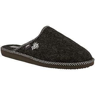 RBJ leather shoes Herren Natur Wollfilz Pantoffeln für Wohlgefühl - warm, atmungsaktiv, natürlich, Handarbeit, Qualität, (44 EU, Schwarz 906A)
