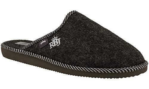 RBJ leather shoes Herren Natur Wollfilz Pantoffeln für Wohlgefühl - warm, atmungsaktiv, natürlich, Handarbeit, Qualität (43 EU, Schwarz 906A)