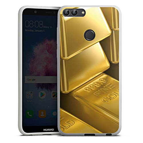 DeinDesign Silikon Hülle kompatibel mit Huawei P smart (2018) Case Schutzhülle Goldbarren Gold Barren