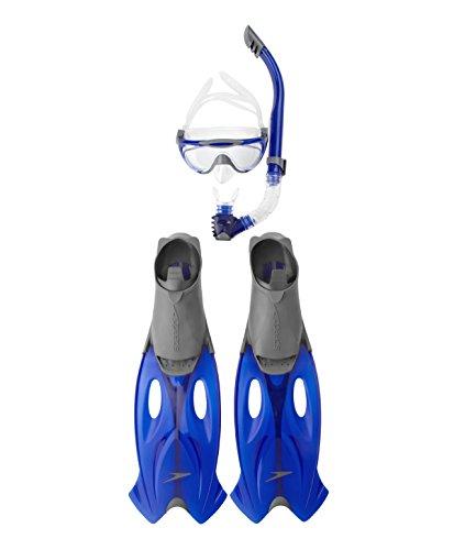 Speedo Erwachsene Accessoires Glide Mask, Snorkel und Fin Set Grau/Blau, 45/46