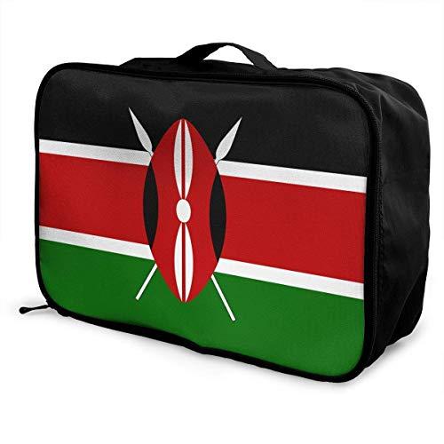 Qurbet Reisetaschen,Reisetasche, Portable Luggage Duffel Bag Kenya Flag Travel Bags Carry-on in Trolley Handle -