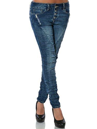 Damen Skinny Jeans Hose Knopfleiste DA 15831 Blau S / 36