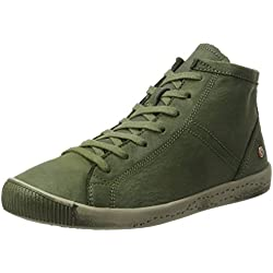 Softinos Damen Isleen Washed Hohe Sneaker, Grün (Forest Green), 37 EU