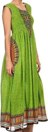 Sakkas Hoola Long Tall Cadrage en pied tribal imprimé Batik Débardeur Robe sans manches Vert