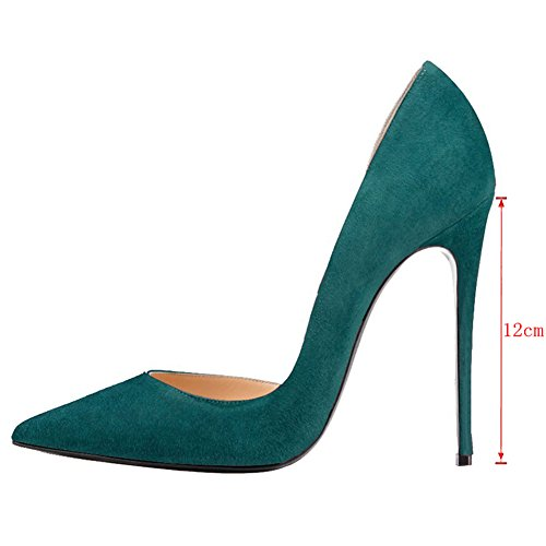 EKS Damen Stilett Spitze Partei Pumps High Heels Grün-Wildleder