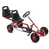 Sweepid Kinderfahrzeug 2 Sitzer 4 Räder Gokart Rennkart Tretauto Go-Kart Kinder (Rot)