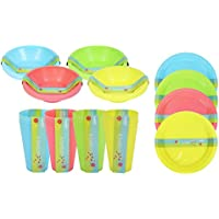 Full 48 Piece Plastic Picnic Set Outdoor Dining Bowls Plates Tumblers 4 Colours Environmentally Friendly Camping Dining Outside Garden Party BBQ Set