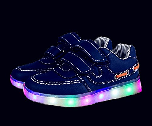 Aidonger Unisex Kinder LED Schuhe Sneaker Sportschuhe USB Lade Outdoor 11 Colors Modes Shoes Blau