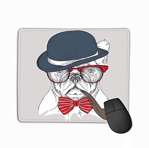Mouse pad Image Portrait Bulldog hat Cravat Glasses Tobacco Pipe Vector Illustration steelseriesKeyboard