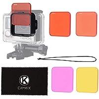 CAMKIX Juego de filtros para Lentes Compatible con GoPro Hero 4 Black, Silver Hero+ Hero+ LCD, Hero and 3+ - Mejora los Colores para Diversos Condiciones de Videos Submarinos y Fotograficas