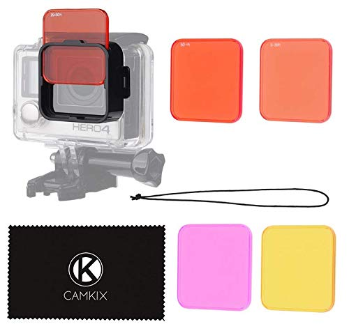 Juego de filtros para lentes CamKix para GoPro HERO 3+ and 4 Este juego de filtros de la lente de buceo realza los colores y mejora el contraste en diversas condiciones de video y fotografía submarina. El filtro ROJO (SWCY) es ideal para el agua sala...