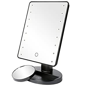 H&S Makeup Mirror with Light/LED Light Up Mirror/Vanity Mirror with Lights / 10X Magnifying Round Make Up Mirror LED Lighted Illuminated Cosmetic Mirror with Lights Desk Free Standing Portable