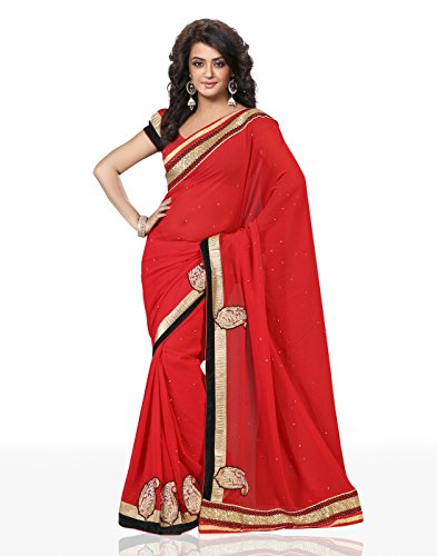 Chirag Sarees Synthetic Saree (4410_Red)