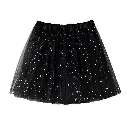 Andouy Damen Sparkly Star Pailletten Tutu Rock Tüll Organza Petticoat Balletttanz Geschichtet Kostüm Dress-up Größe - Einfach Rock Star Kostüm