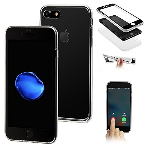 Custodia iPhone 7, iPhone 7 Cover Silicone Trasparente, SainCat Cover per iPhone 7 Custodia Silicone Morbido, 360 Gradi Full Body Shock-Absorption 3D Design Custodia in Ultra Slim Transparent Silicone Nero