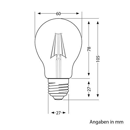 ledscom.de E27 LED Leuchtmittel Filament A60 8W =65W Warm-weiß 850lm A++ für Innen und außen, 12 Stk.