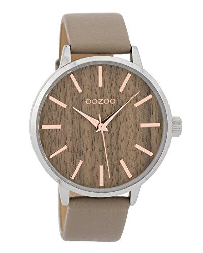 Oozoo Damenuhr mit Lederband Wood Holz Zifferblatt 42 MM Holz/Taupe C9252