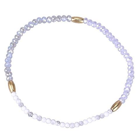 KELITCH Gris Cristal Gemme Mix Petit Perles Amitié Enveloppe Bracelets Fait Main Nouveau Été Bijou (Orange)