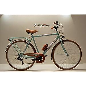 41PDCdLBRUL. SS300 Cicli Ferrareis Bici Trekking 28 Uomo City Bike 6v Shimano Verde Acqua e Marrone personalizzabil