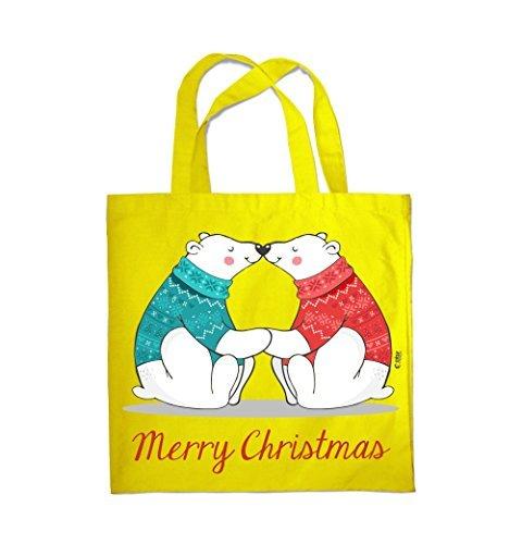 COLOUR FASHION Merry Christmas Love Bears SPESA BORSA DA SPIAGGIA BORSA 0090 Giallo Suministro De Precio Barato Barato Asequible Venta Barata Confiable Wiki En Línea Barata 9YGsZ