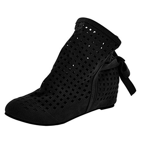 YE Damen Flach Sommer Stiefeletten mit Schnürung Cut Out Sandalen Bequem Schuhe (39, Schwarz)