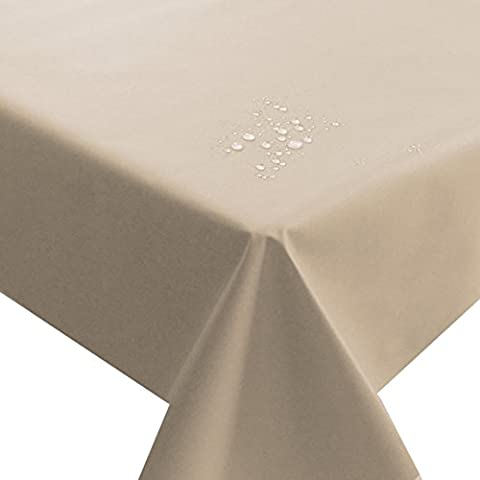 NL Meterware Stoff Farbe , Breite & Länge wählbar - Beige Sand Natur TEFLON Eckig 140 x 160 bzw. 160x140 cm Tischdecke