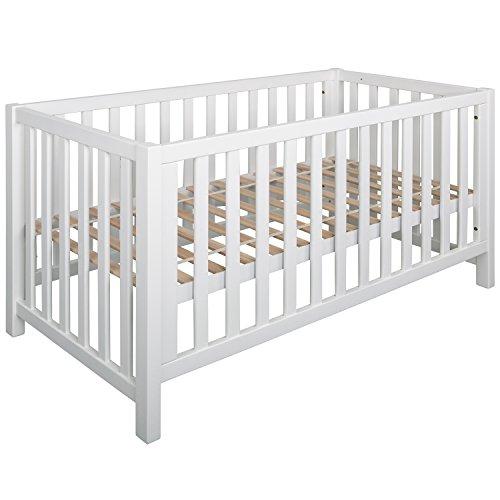 Schwarzwald Massivholz Multi Funtkions Baby Bett LINA Buche mit 4-fach Funktion, weiss, 70 x 140 cm