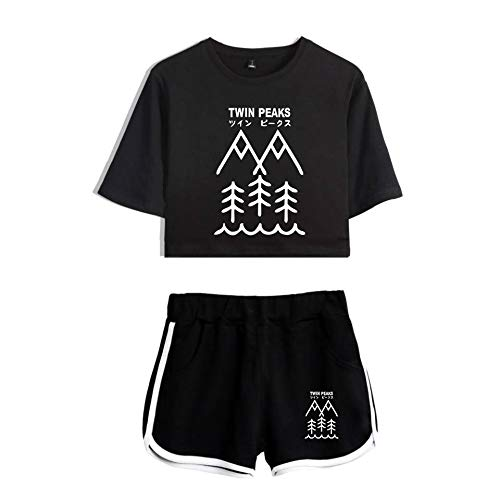 43dbb5bc09e3 LYJ Moda Maglietta Pantaloncini 2 Pezzi Impostato Hip-Hop Twin Peaks  Stampato Fitness Indossare per